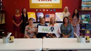 AAUW members with Painting with a Twist art designs