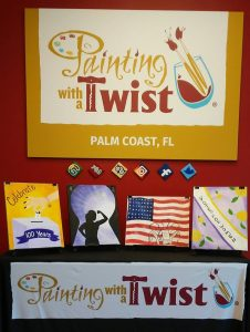 Painting with a Twist art designs celebrating 100 years of women voting